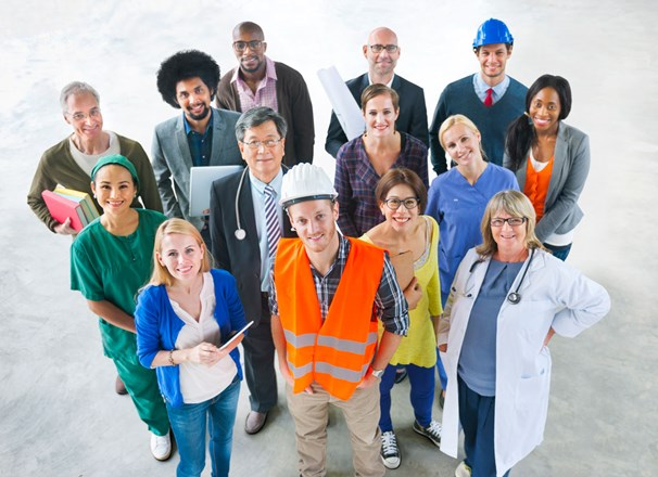 Group photo of people in different occupations