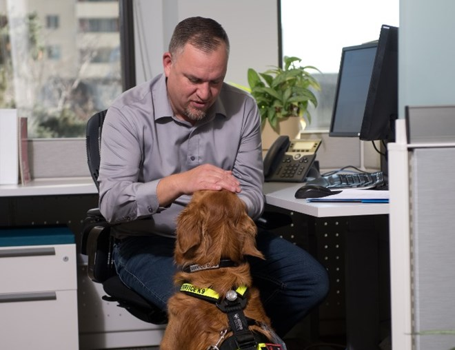 Employee with service dog in an office cubicle