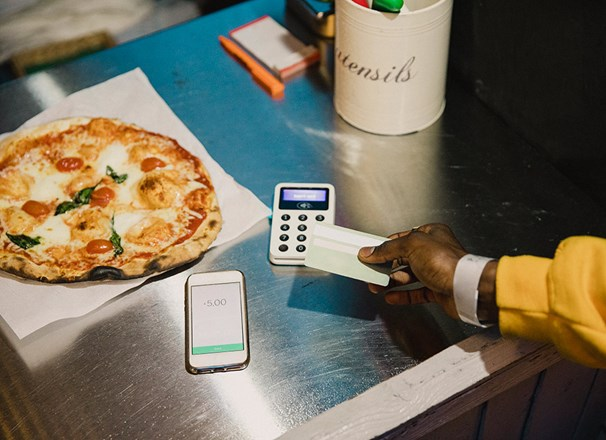 Paying for a pizza with a bank card