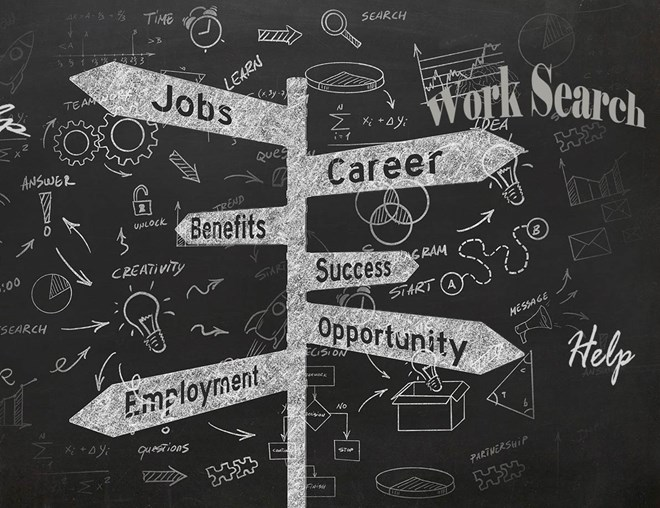 Illustrated road signs pointing to jobs, career, benefit, success, employment, opportunity