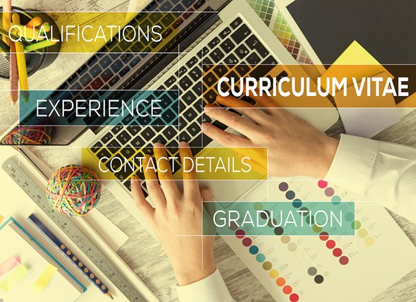 Hands on a laptop keyboard with superimposed text: curriculum vitae, qualifications, experience, contact details, graduation